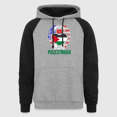 I Live In The Us But My Heart Is In Palestinian - Colorblock Hoodie