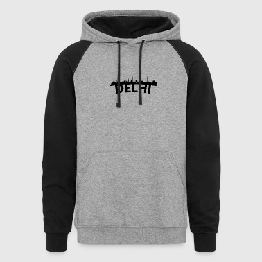 Arc Skyline Of Delhi India - Colorblock Hoodie