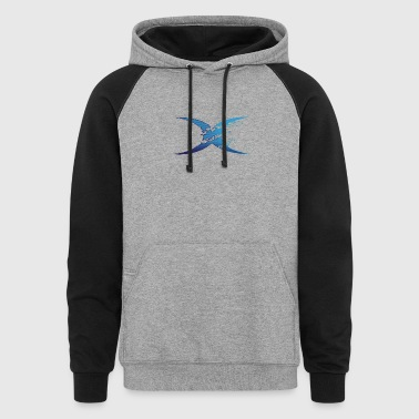 blue letter water wave x - Colorblock Hoodie