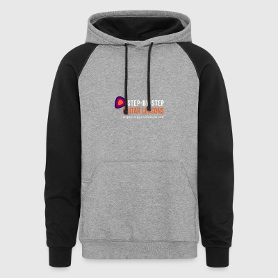 Step-by-step Guitar Lessons Logo White - Colorblock Hoodie