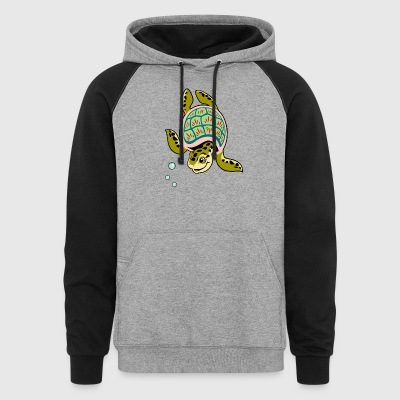 Turtle reptile swims smiling wildlife - Colorblock Hoodie