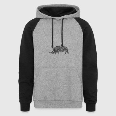 Ornate Indian Rhino - Colorblock Hoodie