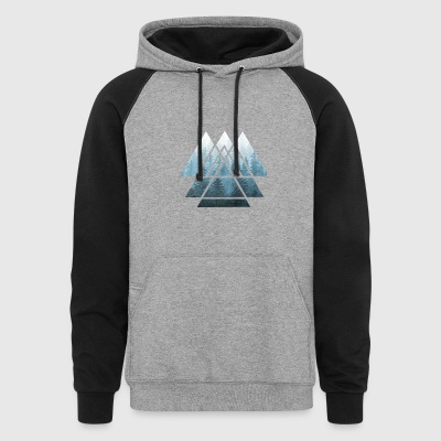Sacred Geometry Triangles Misty Forest - Colorblock Hoodie