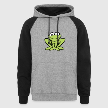 little frog ready to jump into the pond - Colorblock Hoodie