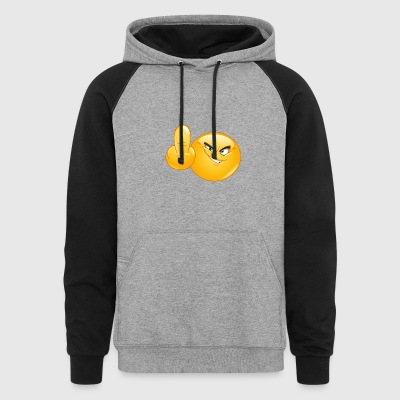 middle finger emoticon - Colorblock Hoodie