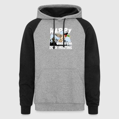 Happy When Duck Hunting Shirt - Colorblock Hoodie
