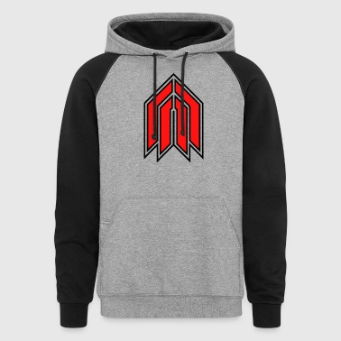 Red 3.0 Logo with White Outline - Colorblock Hoodie