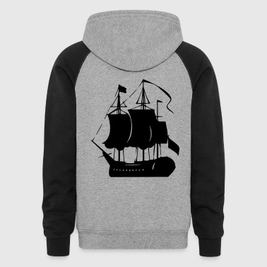 Pirate old ship - Colorblock Hoodie