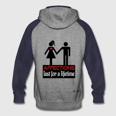 couples-affection-blk - Colorblock Hoodie