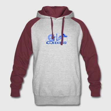 ski_weekend_blue - Colorblock Hoodie