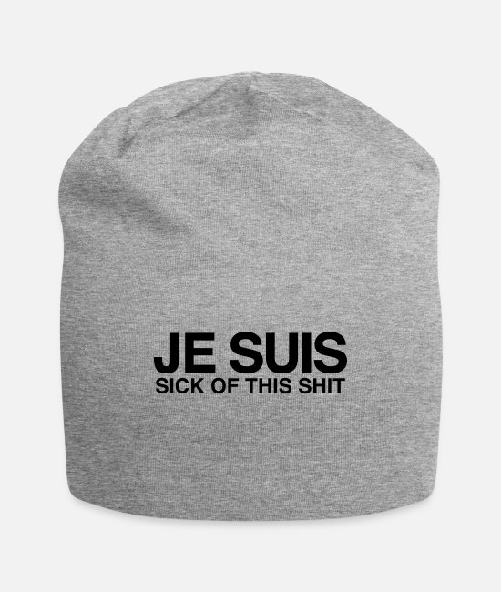 Hipster Caps & Hats - Je Suis - Sick Of This Shit - Beanie heather gray