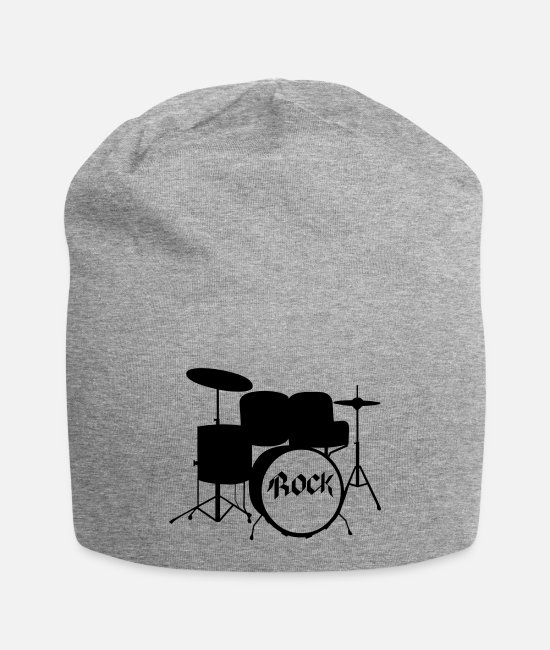 Drummer Caps & Hats - Rock Drummer - Drums - Rock and Roll - Band - Beanie heather gray