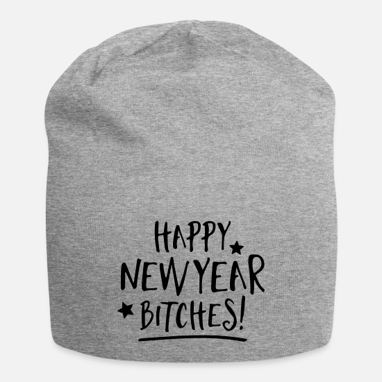 New Caps - Happy new year bitches - Beanie heather gray