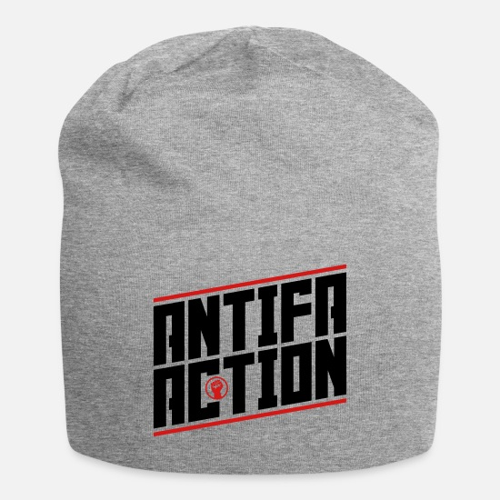 Activist Caps - Antifa Action (black-red) - Beanie heather gray