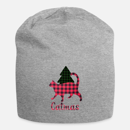 Red Caps - Catmas, christmas with a cat, plaid blanket - Beanie heather gray
