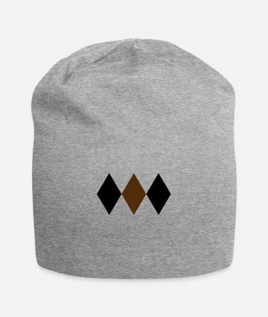 2 Caps & Hats - Two Tone Harlequin Diamonds 3x1 2 Colors - Beanie heather gray
