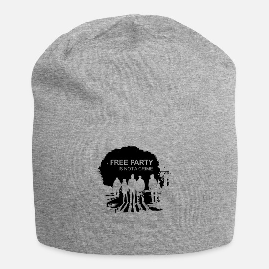 Techno Caps - free_party_is_not_a_crime - Beanie heather gray