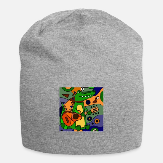 Guitar Caps - Alligator with Guitar Art - Beanie heather gray
