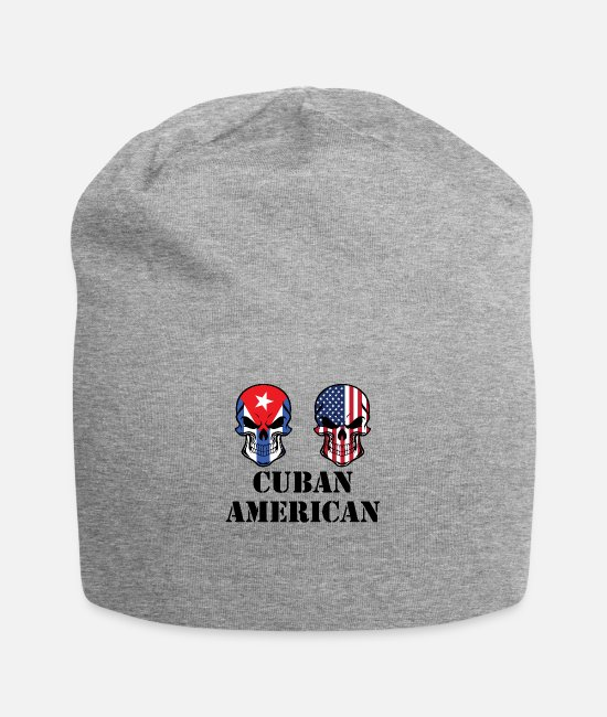 Cuba Caps & Hats - Cuban American Flag Skulls - Beanie heather gray
