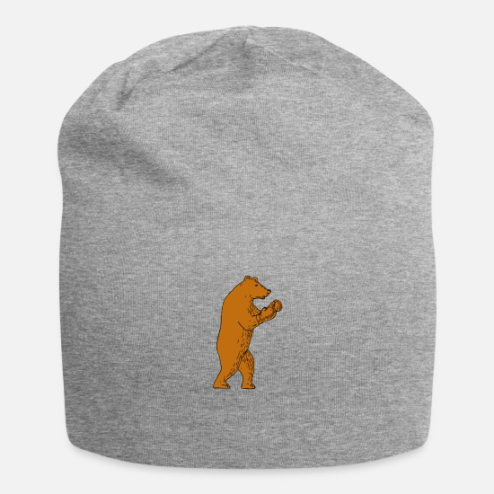 Grizzly Caps - Brown Bear Boxing Stance - Beanie heather gray