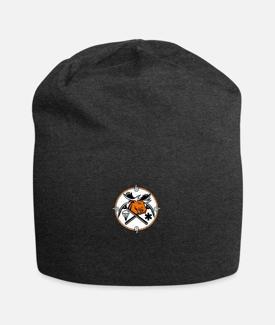 Circle Caps & Hats - Angry Moose Crossed Ice Pick Axe Pararescue Mascot - Beanie charcoal gray