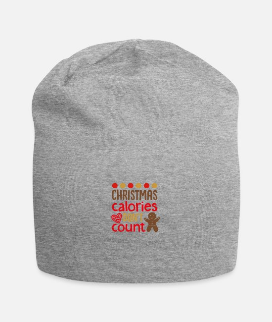 Christmas Carols Caps & Hats - Christmas Calories dont count - Beanie heather gray