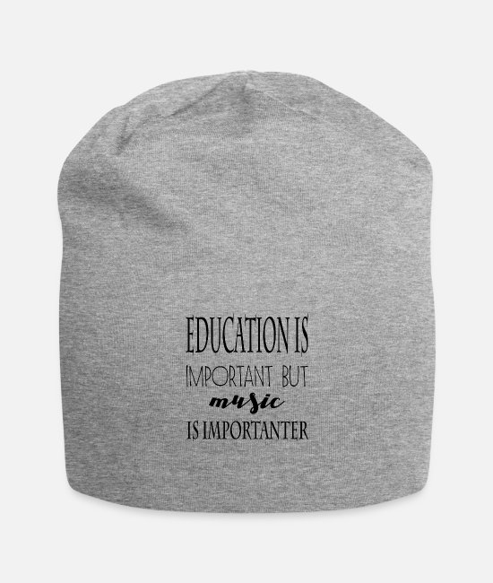 Music Star Caps & Hats - Education is important but music is importanter - Beanie heather gray