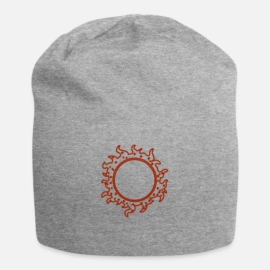 Trend Caps - Sketch sun planet tatoo vector image illustration - Beanie heather gray
