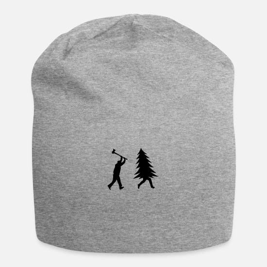 Christmas Caps - Funny Christmas tree is chased by Lumberjack - Beanie heather gray