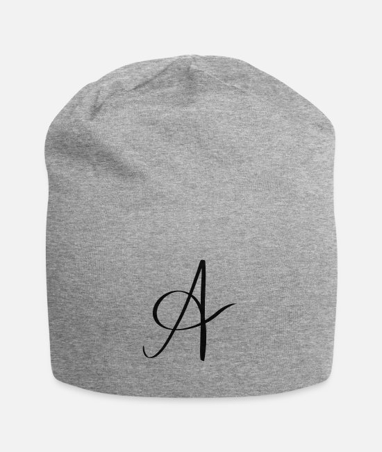 Letter (sign) Caps & Hats - Letter A - Beanie heather gray