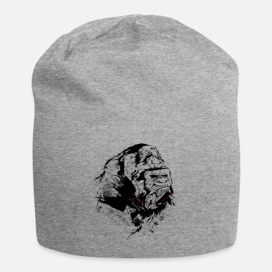 Gorilla Caps - Angry Gorilla Silverback Beast Gym Workout Roar - Beanie heather gray