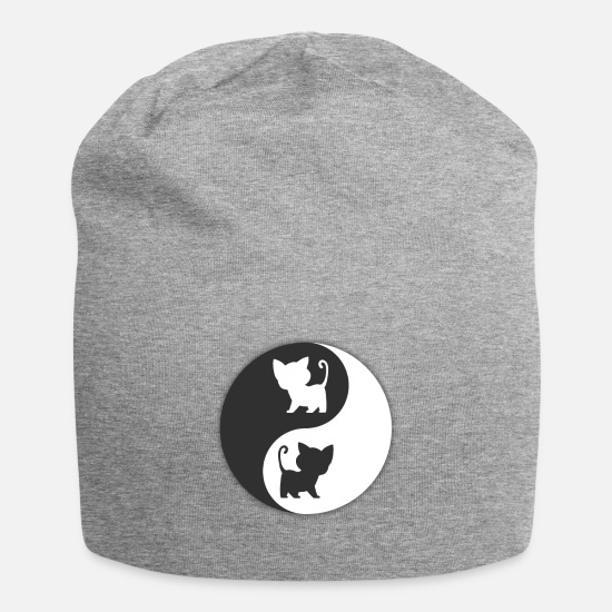 Happy Caps - Cat Ying Yang - Beanie heather gray
