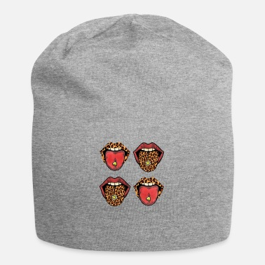 Tongue Red Lips Leopard Tongue Cute Trendy Graphic Animal - Beanie