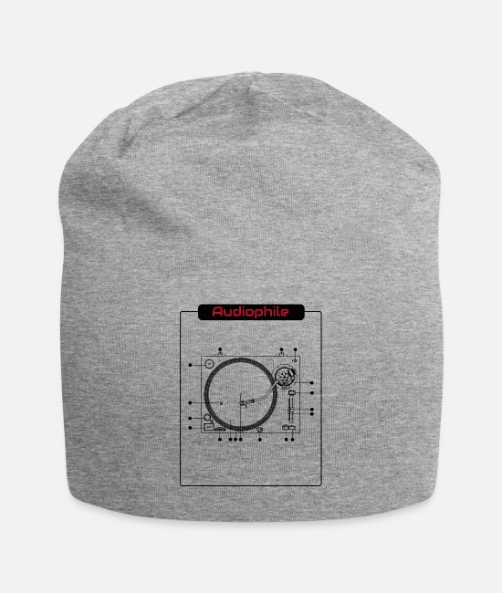 Turn Table Caps & Hats - Audiophile Highend HiFi Turntable Music Tshirt - Beanie heather gray
