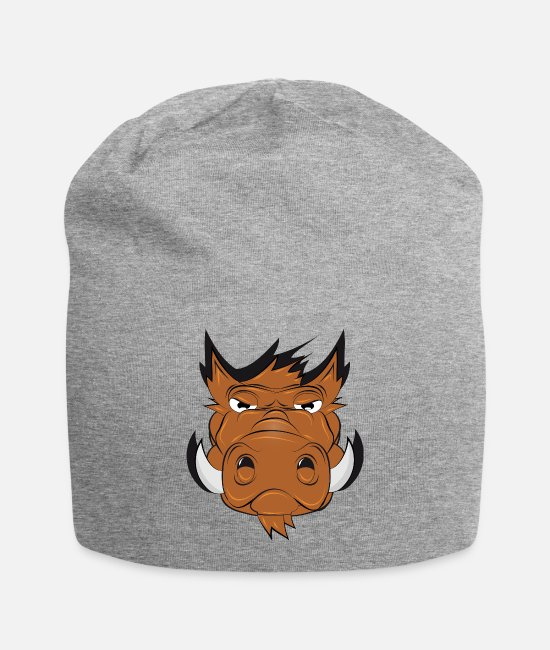 Hog Caps & Hats - Drawing of a wild boar head in a comic style - Beanie heather gray