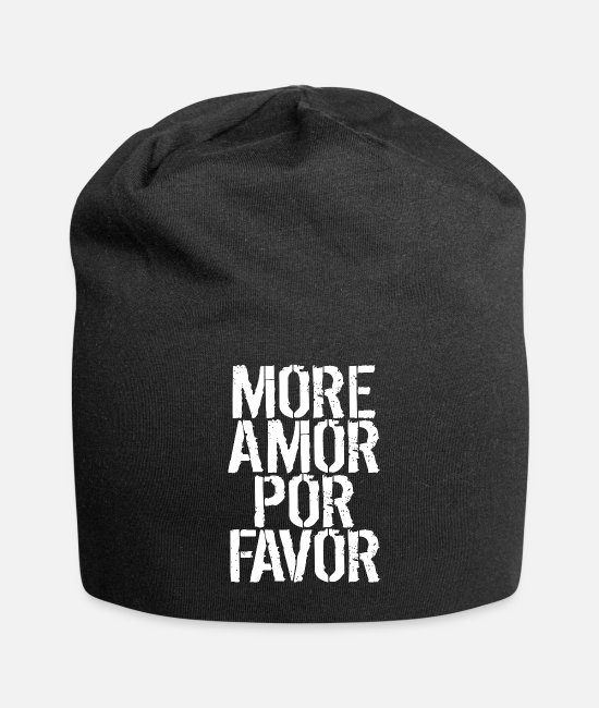 Vacation Caps & Hats - more love in the world amore spread love - Beanie black