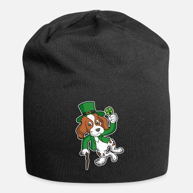 Dog Dancing Red White Irish Setter Lucky Dog Leprechaun - Beanie