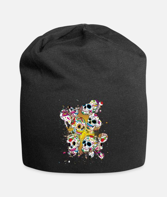 Mexico Day Of The Dead Caps & Hats - Sugar Skulls - Beanie black