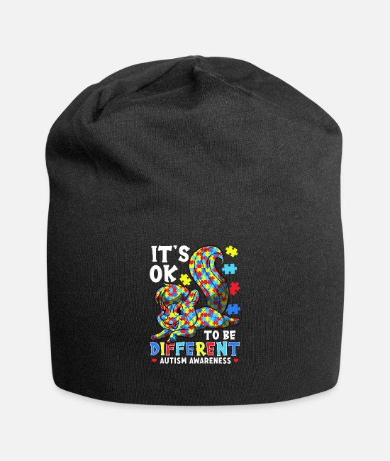 Autism Caps & Hats - It's OK To Be Different Autism Awareness Puzzle - Beanie black