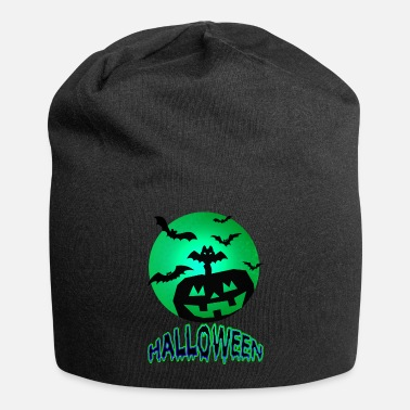 Wing Pumpkin With Bats On Halloween - Beanie