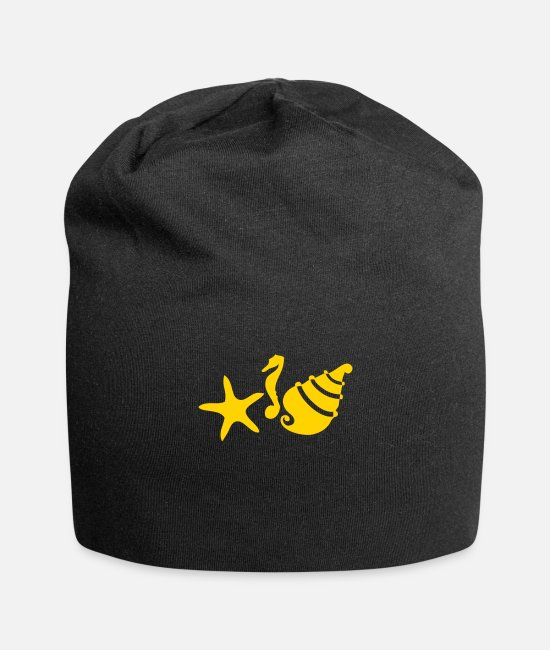 Shells And Starfish Caps & Hats - seahorse shell and starfish - Beanie black