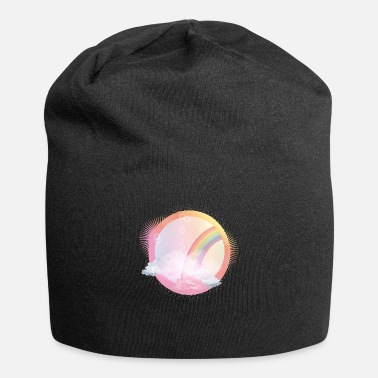 Bloom pink sky with rainbow and delicate clouds - Beanie