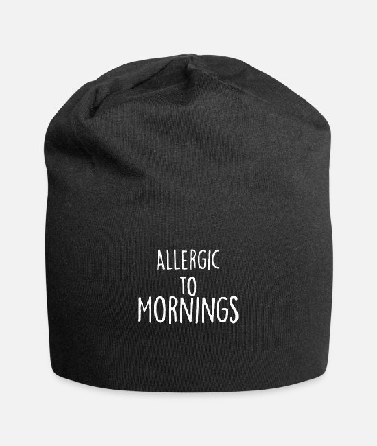Quote Caps & Hats - Allergic To Morning - Beanie black