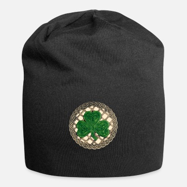 Shamrock Beige Celtic Knots And Shamrock - Beanie