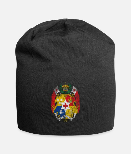Half Tongan Caps & Hats - Tongan Coat of Arms Tonga Symbol - Beanie black