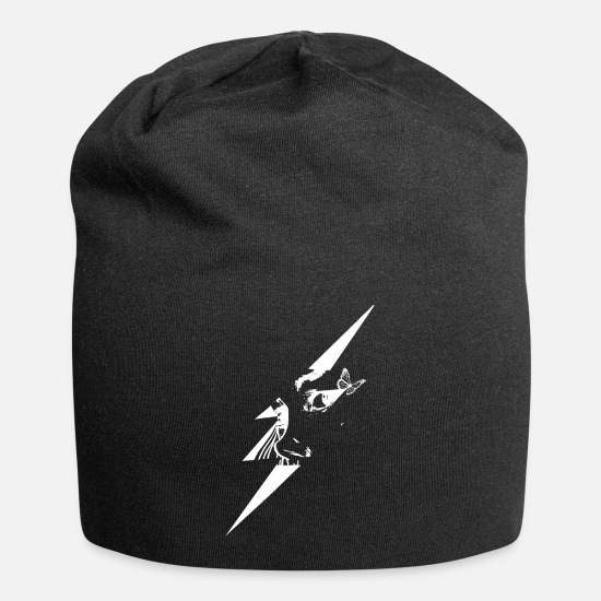 Magic Caps - Butterfly with lightning and face. - Beanie black