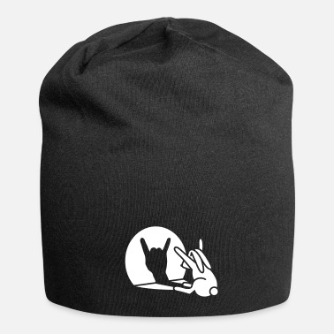 Puppetry Funny rabbit shadow hand cartoon ROCK music METAL - Beanie