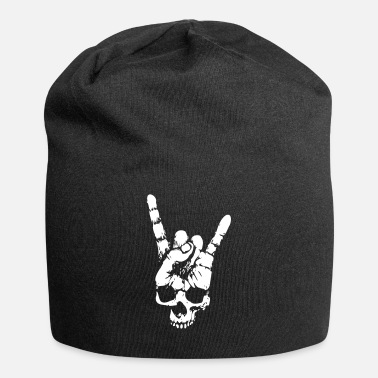 Heavy heavy metal skull with devil horns hand - Beanie