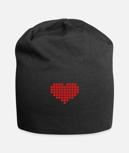 Heart Caps & Hats - Pixel Heart - Beanie black