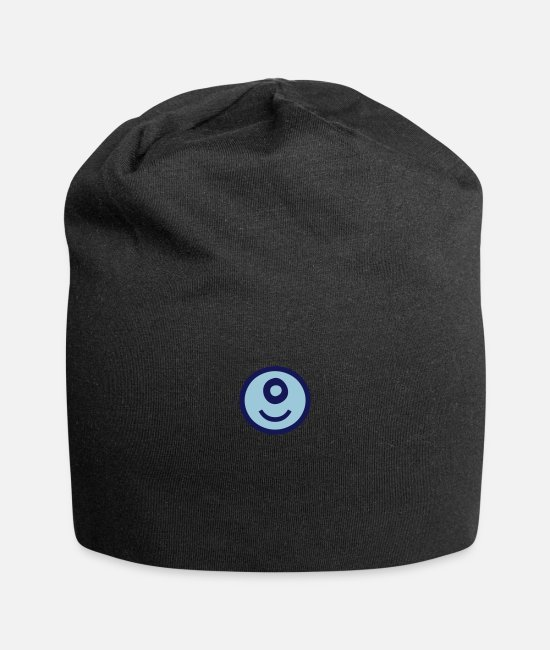 Caps & Hats - ♥☺↷Happy Smiley Alphabet Initial Letter-O↶☺♥ - Beanie black